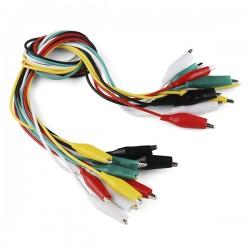 Juego de 10 Cables Caimán-Caimán  de 43 cm